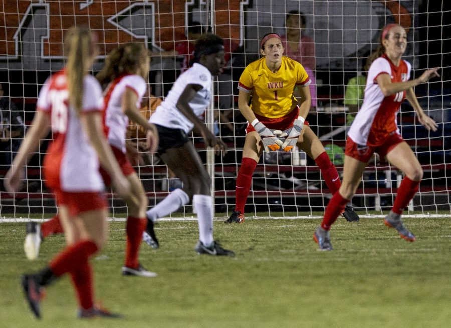 WKU+goal+keeper+Allison+Leone+watches+the+ball+during+WKUs+game+verses+Vanderbilt+on+Friday+Sept.+8%2C+2017+at+the+WKU+Soccer+Complex.