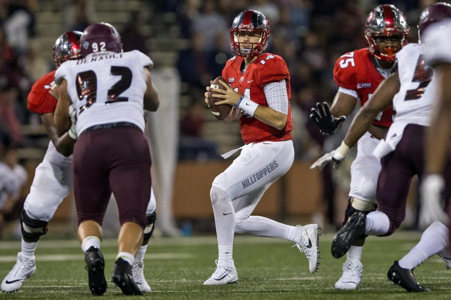 Western Kentucky University quarterback Mike White (14) looks to make a pass during the second half of the WKU - EKU football game on Saturday, Sept. 2, 2017 at L.T. Smith Stadium. WKU defeated EKU 31-17.