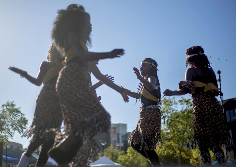 Species Nyiramana is the leader of one of the groups who performed at Bowling Green's International Festival on Saturday, Sept. 30. The group danced to fast-paced music in various African languages to represent their culture.
