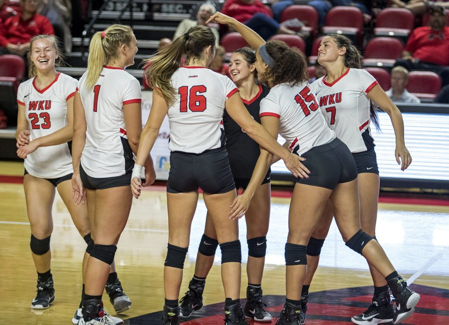 WKU volleyball celebrates a kill during their game Friday in E.A. Diddle Arena. WKU beat LA Tech 3-0.