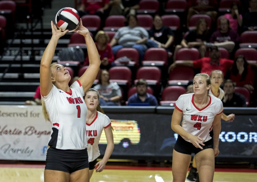 WKU senior Jessica Lucas (1) sets the ball to Rachel Anderson (4) during a game vs. Louisiana Tech on September 29, 2017 in EA Diddle Arena.