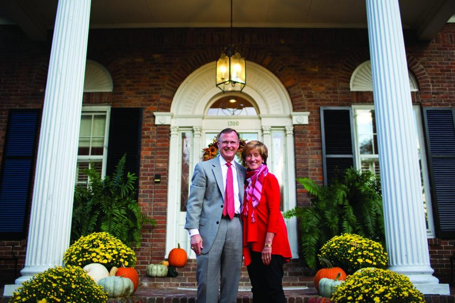 Gary and Julie Ransdell on Oct. 10, 2016, in front of the President's House.