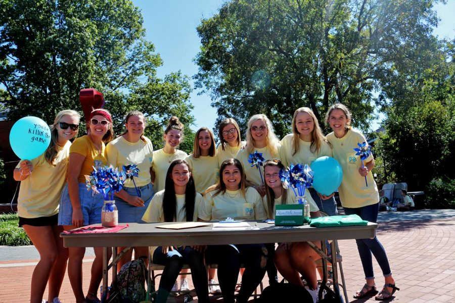 Members+of+the+Kappa+Delta+sorority+selling+pinwheels+to+raise+money+for+Prevent+Child+Abuse+America+Thursday+afternoon.