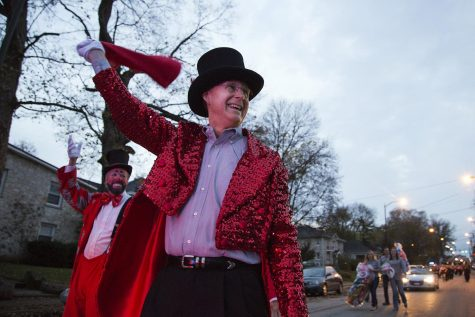 WKU President Gary Ransdell dons a top hat and sequined tailcoat, of a big-top ringmaster during the circus-themed homecoming parade Fall 2015.