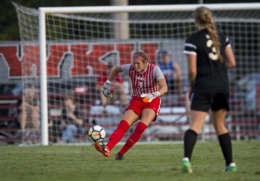Senior goalkeeper Allison Leone kicks the ball down the field in the game against Evansville Sept. 3 at the WKU Soccer Complex. Leone is currently second in school history in all-time saves.