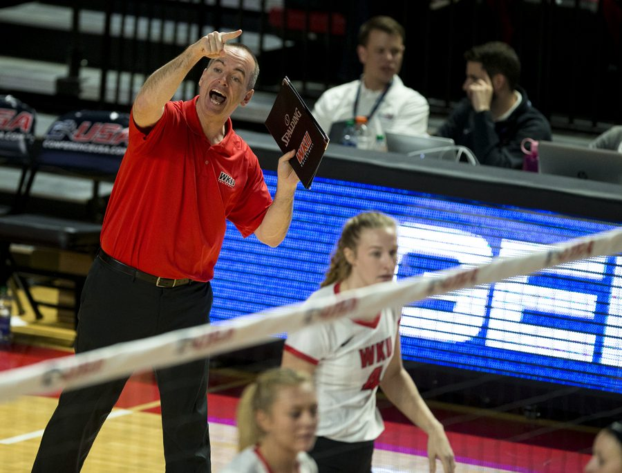WKU+head+coach+Travis+Hudson+yells+instructions+to+his+players+during+their+game+against+Charlotte+in+the+C-USA+tournament+Nov.+17.+We+did+not+like+how+we+finished+last+year+and+weve+had+a+goal+to+get+back+to+this+point+Hudson+said+after+the+game.