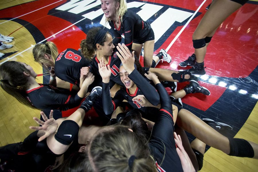 WKU players celebrate as they win their last game of the Conference USA tournament in E.A. Diddle Arena on Sunday Nov 19, 2017. This is the fourth conference title in the last four years for the Lady Toppers.