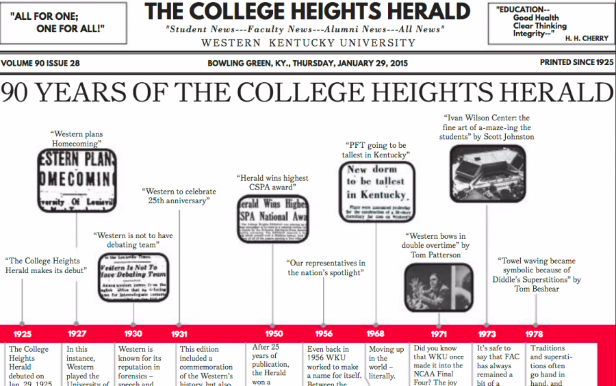 Jan. 29, 2015 issue of the College Heights Heraldcelebrating out 90th anniversary.
