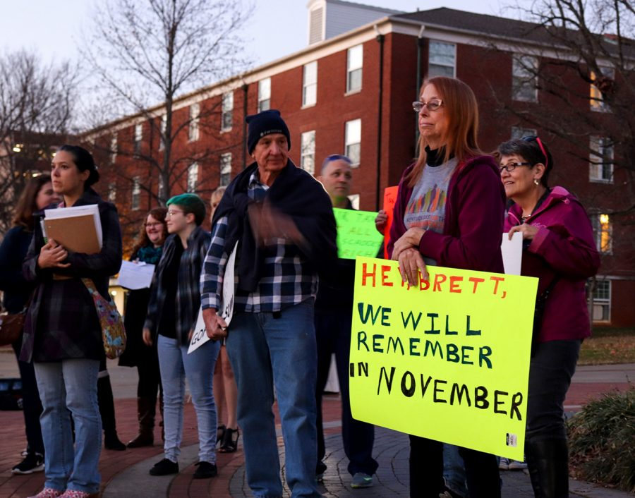 Joyce Adkins, with Kentuckians for the Commonwealth, joined students and WKU professors Wednesday, Nov. 29, 2017 in Centennial Mall to protest a tax that would impact graduate students. Adkins said her son went to graduate school.