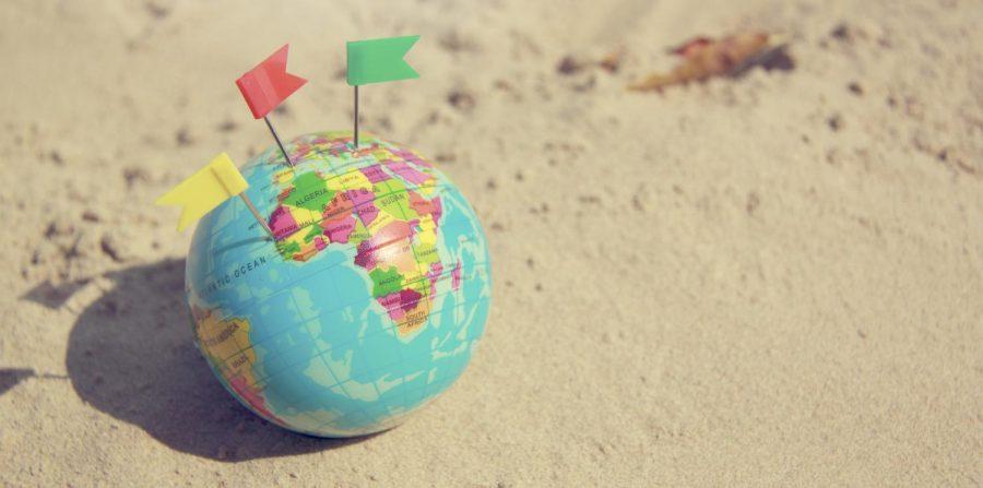 Earth Map Ball on sand