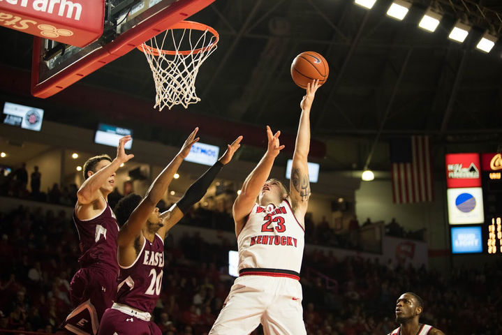 Senior+forward+Justin+Johnson+scores+over+two+defenders+in+WKU%27s+game+against+Eastern+Kentucky+on+Wednesday%2C+Nov.+29.%C2%A0