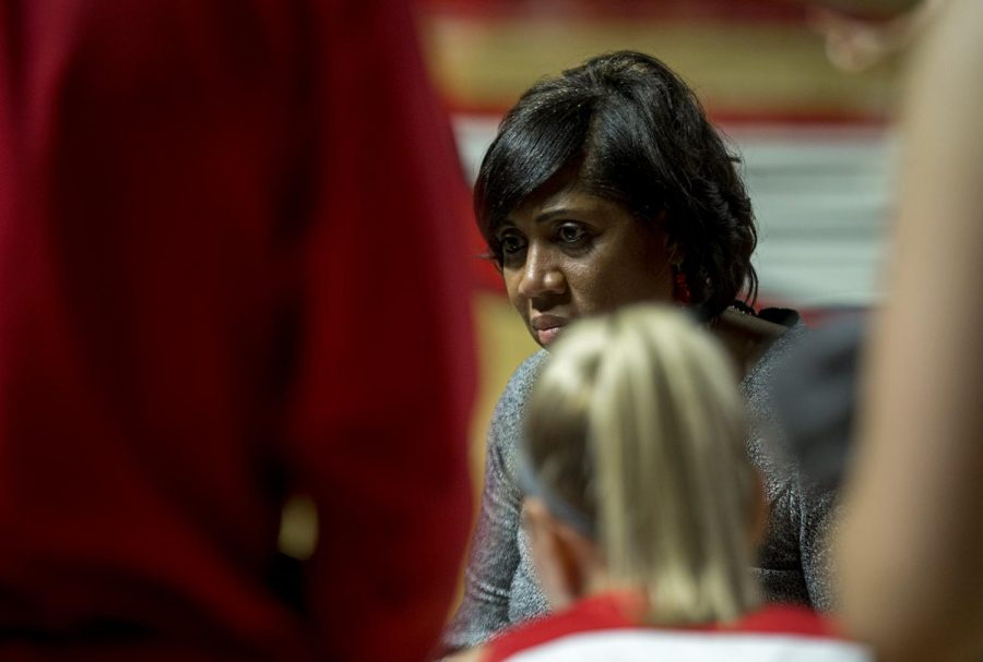 Head+coach+Michelle+Clark-Heard+talks+to+the+team+during+a+timeout+in+the+game+against+Notre+Dame+Tuesday%2C+Nov.+14+in+EA+Diddle+Arena.+Clark-Heard+has+preached+defensive+effort+this+season.