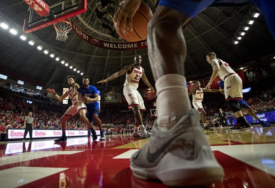A MTSU player tries to find a teammate inbounds to pass to during the WKU vs. MTSU rivalry game on Jan 20, 2018 in E.A. Diddle Arena. MTSU beat WKU 66 to 62.
