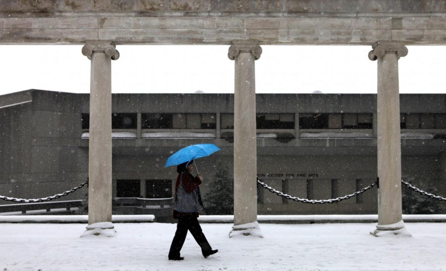 Graphic+design+professor+Hai+Ri+An+walks+to+her+car+after+leaving+FAC+on+Feb.+9th%2C+2011.+WKU%27s+recent+five+day+closure+due+to+snow+has+made+the+university+reconsider+it%27s+winter+weather+protocol.%C2%A0