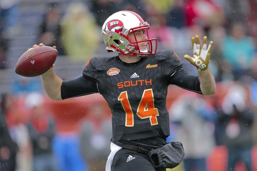 Former quarterback Mike White throws a pass down the field during the annual Senior Bowl Saturday, Jan. 27 in Mobile, Ala. White represented WKU alongside former high end Deon Yelder.