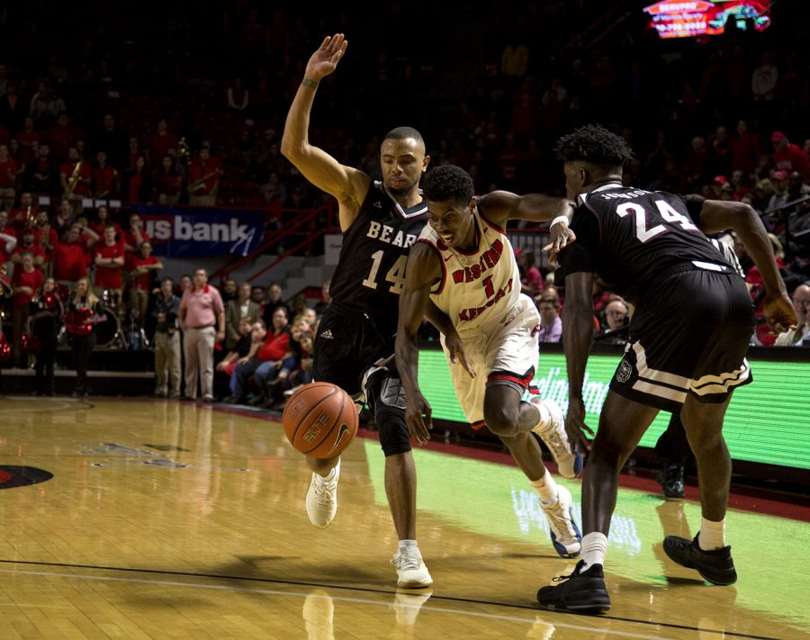 Junior guard, Lamonte Bearden, (1), pushes through the defense of Missouri State Bears to gain possession of the ball on Fri. Nov 10, 2017 at Diddle Arena.