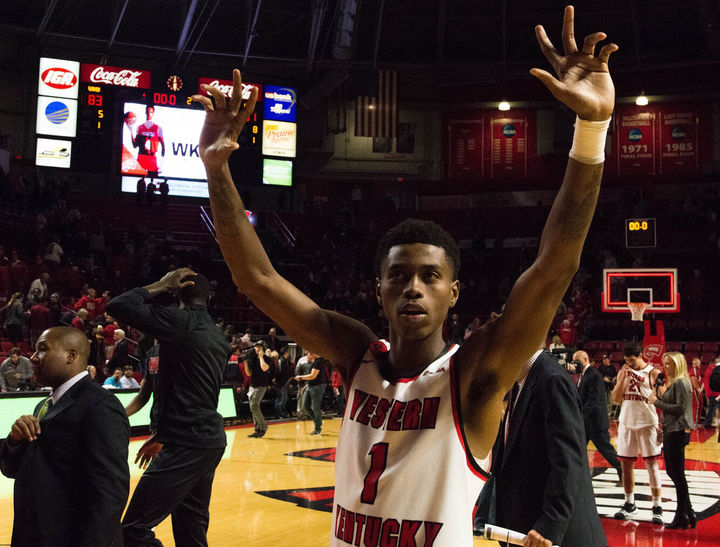 Junior+guard+Lamonte+Bearden+waves+to+the+crowd+after+a+83-51+WKU+victory+over+Eastern+Kentucky.+Bearden+finished+with+16+points.