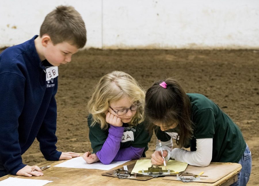 Contestants Jed Gunderson (left), Lexie Garrett (middle), and Josslyn Allen (right) work on their team quality assurance exercise on Feb. 17, 2018 at the Kentucky 4-H Livestock Skillathon. This team competition in the event had contestants show their ability to read a medicine label, calculate withdrawal times, complete a treatment record and make responsible management decisions regarding quality assurance.