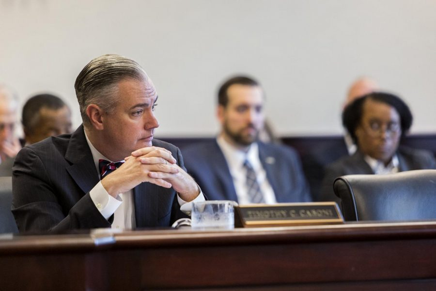 President Timothy Caboni listens to fellow speakers at the Board of Regents meeting on Feb. 23 in Jody Richards Hall. Caboni announced plans for dealing with the budget and its shortfalls going forward.