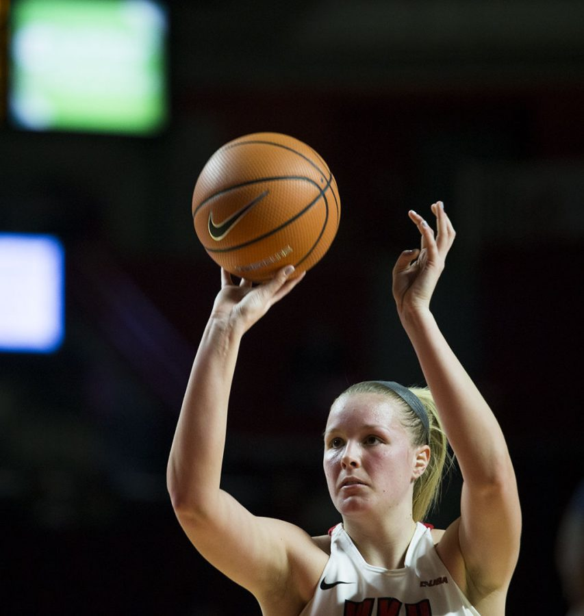 WKU forward Ivy Brown shoots a free-throw during WKUs game vs. Old Dominion in E.A. Diddle Arena on Feb. 8 Brown fell short of a double-double, scoring 8 points and 10 rebounds.