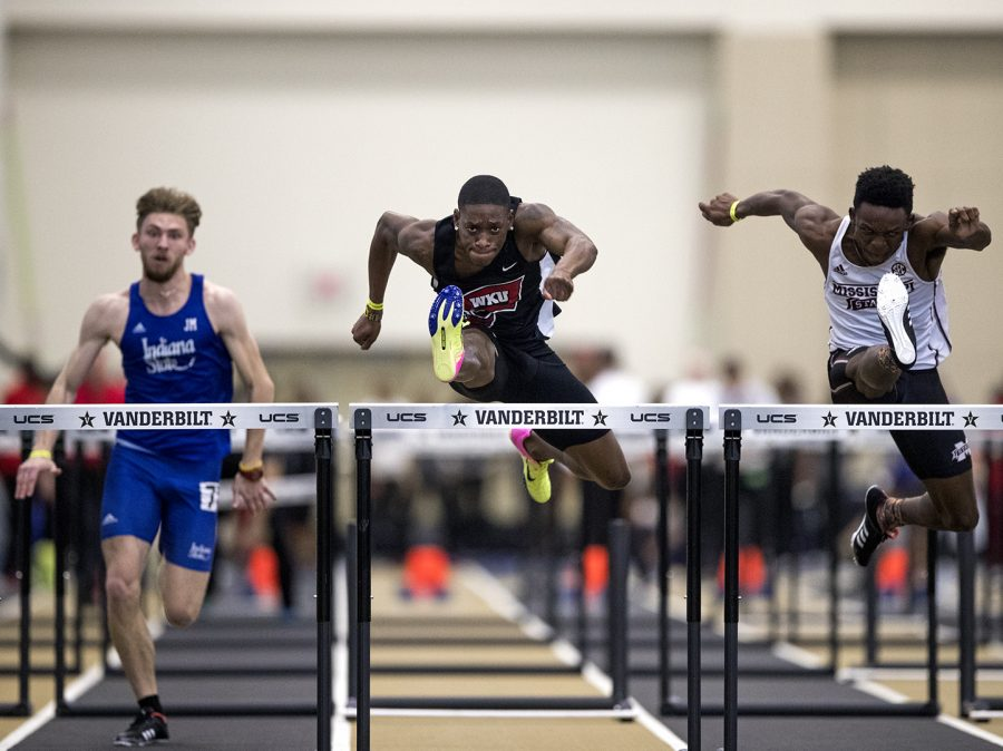 Johnathan Hayden competes in the men's hurdles event during Vanderbilt's Music City Challenge on Saturday, Feb. 10 at Vanderbilt Rec. Center and Indoor Track Facility in Nashville, Tennessee. Hayden finished 3rd to qualify for the finals where he also placed 3rd with the time of 7.97.