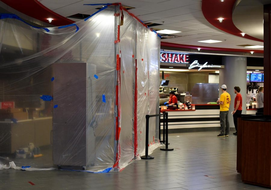 Students await the re-opening of Chick-fil-a in Downing Student Union on Sunday, January 21. In an effort to reduce customers wait time more registers are being added.