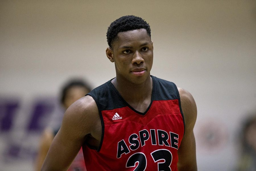 High school recruit Charles Bassey (23) plays for Aspire Academy Wizards, on Feb. 3, 2018 at Bowling Green High school.