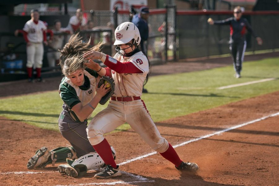 WKU+infielder+Brittany+Vaughn+%285%29+collides+with+University+of+Alabama-Birmingham+catcher+Olivia+Black+%2844%29+during+the+Lady+Toppers%27+7-3+win+on+April+1%2C+2017+at+the+WKU+Softball+Complex.