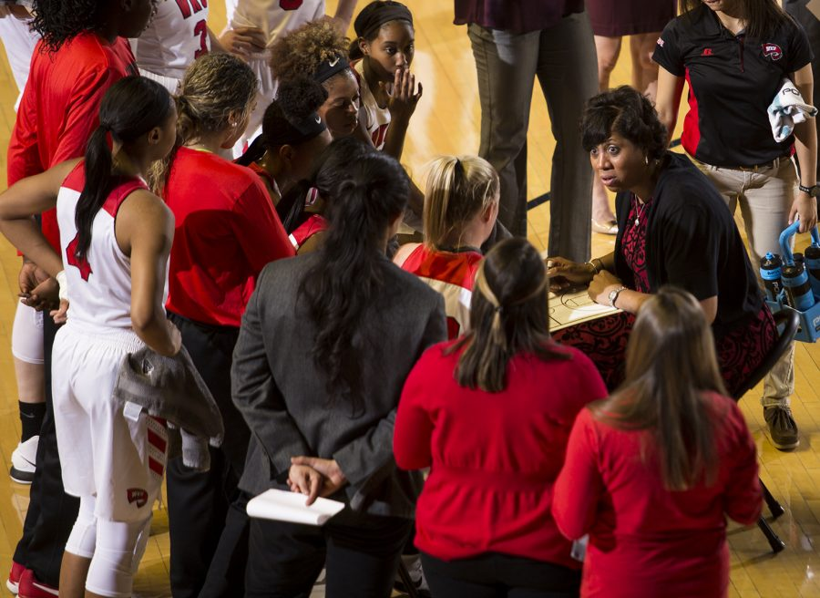 WKU+women%27s+basketball+head+coach+Michelle+Clark-Heard+give+instructions+to+her+players+during+a+timeout+in+WKU%27s+game+vs+Old+Dominion+in+E.A.+Diddle+Arena+on+Feb.+8.