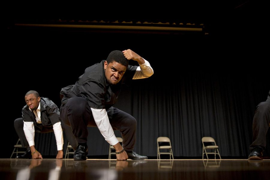 Louisville senior Harrison Hill, left and Ft. Lauderdale senior Brent OConnor, right, perform during the 2017 Yard Show. The yearly performance is one of the many events associated with the National Pan-Hellenic Council (NPHC), the governing body of WKU's nine historically African-American fraternities and sororities.