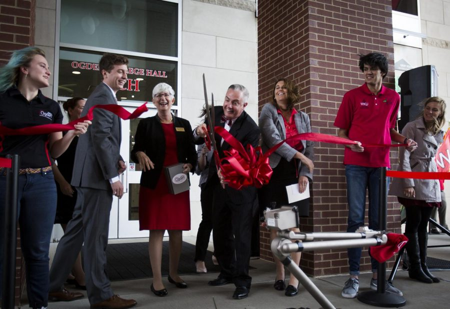 President Timothy Caboni cuts the ribbon for the dedication of Ogden College Hall, WKUs newest academic building on Monday. Construction for Ogden began in April of 2016 and was completed in time for the spring semester of 2018. The new building contains 36 laboratories and a 300 seat auditorium.
