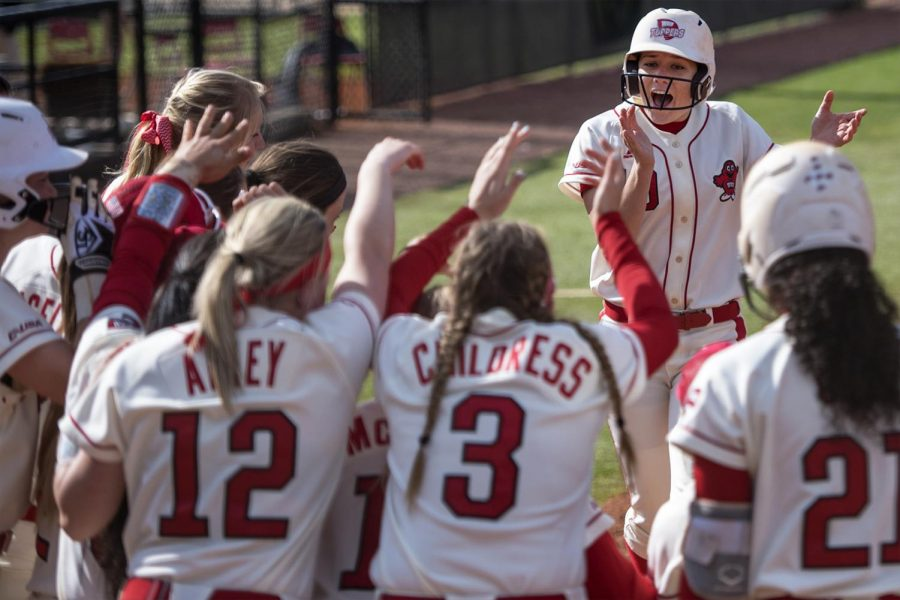 Senior utility player Jordan Mauch (19) runs home to score during the Lady Toppers' 7-3 win on Saturday, April 1 at the WKU Softball Complex.