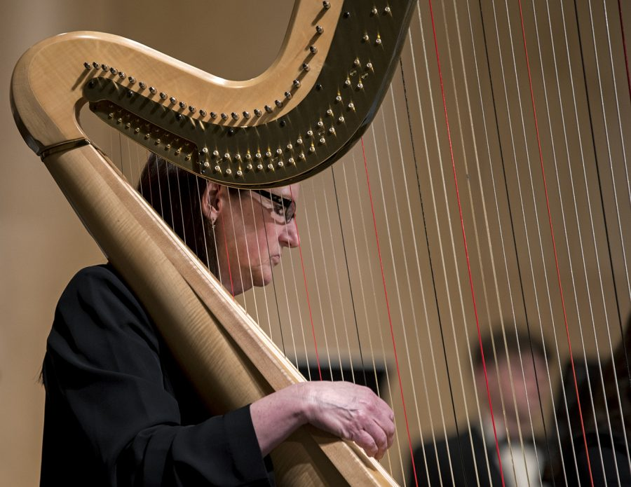 Harpist+Phyllis+Sparks+performs+with+the+orchestra+on+Friday+at+the+Arabian+Nights+concert+in+Van+Meter.+Oboist+Lauren+Witty+said+Sparks+usually+isn%27t+able+to+make+every+show+but+this+one+she+was.