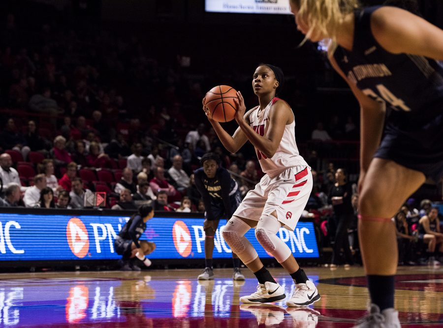 Senior forward Tasha Brown shoots a free throw in the Lady Toppers game against Old Dominion on Feb. 8 at E.A. Diddle Arena. Brown led WKU with 23 points for a final score of 62-48.