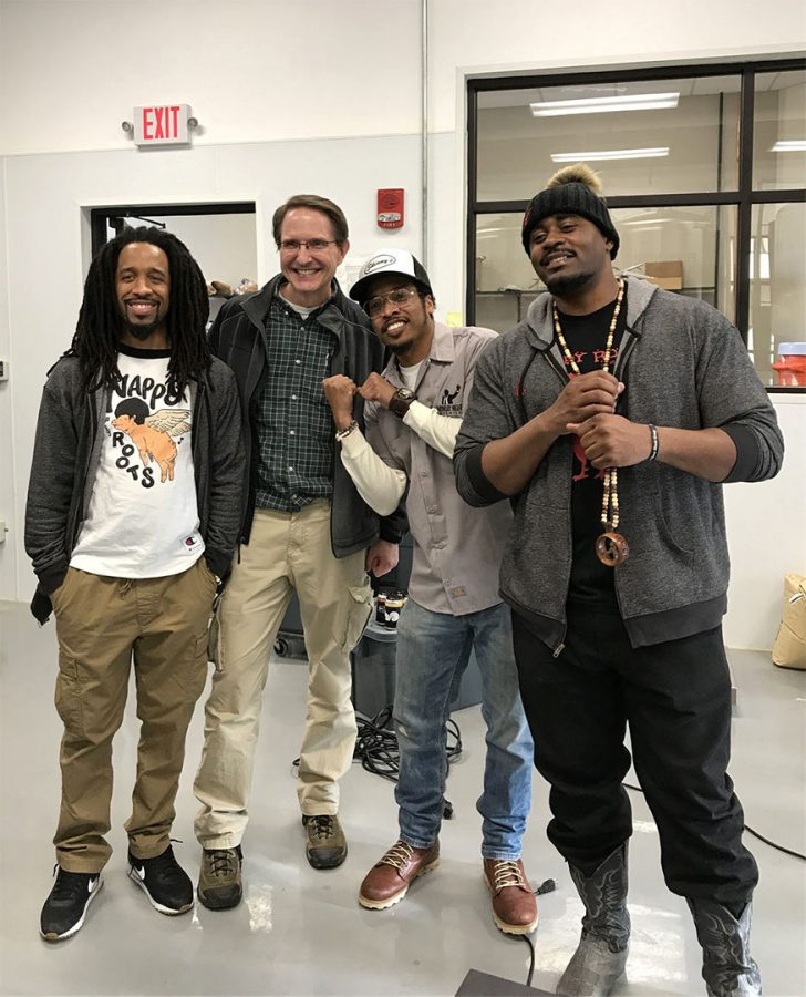 Biology+professor+Rodney+King+meets+members+of+Bowling+Green+rap+and+hip-hop+group+Nappy+Roots%2C+Ron+Clutch%2C+Skinny+DeVille+and+B.+Stille+as+they+visit+the+College+Heights+Brewing+facility+on+Friday%2C+Feb.+9.+Nappy+Roots+came+to+talk+beer+and+the+group%27s+new+brewing+project%2C+Atlantucky+Brewing.%C2%A0%E2%80%9CIt%E2%80%99s+always+nice+to+see+people+that+are+interested+in+the+process%2C%E2%80%9D+King+said.+%E2%80%9CIt%E2%80%99s+fun+to+show+them+%5Bthe+members+of+Nappy+Roots%5D+what+we%E2%80%99re+doing+here.%E2%80%9D