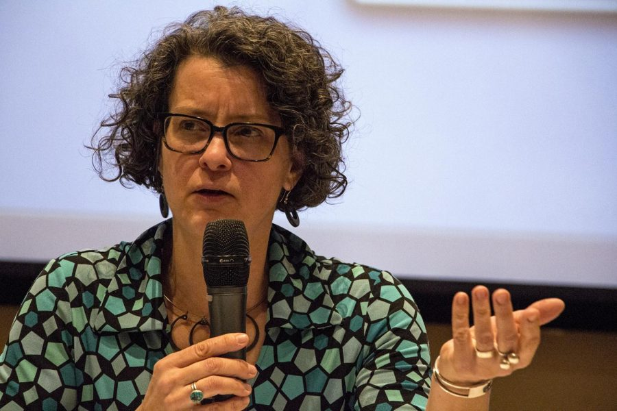 Professor Dorthea Browder speaks during Uncivil: Race, Memory, and the Civil War in Jody Richards Hall auditorium on Feb. 2. Browder, along with fellow history professors, gathered to speak on the civil war and how it has affected the past and the present.