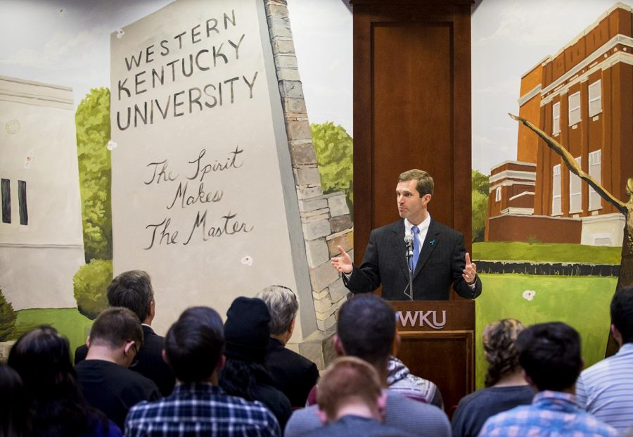 Kentucky Attorney General Andy Beshear addresses members of the WKU community on Monday about Sexual Assault Prevention Month. The event included the signing of a proclamation focusing on creating a safer campus for students and faculty members alike.