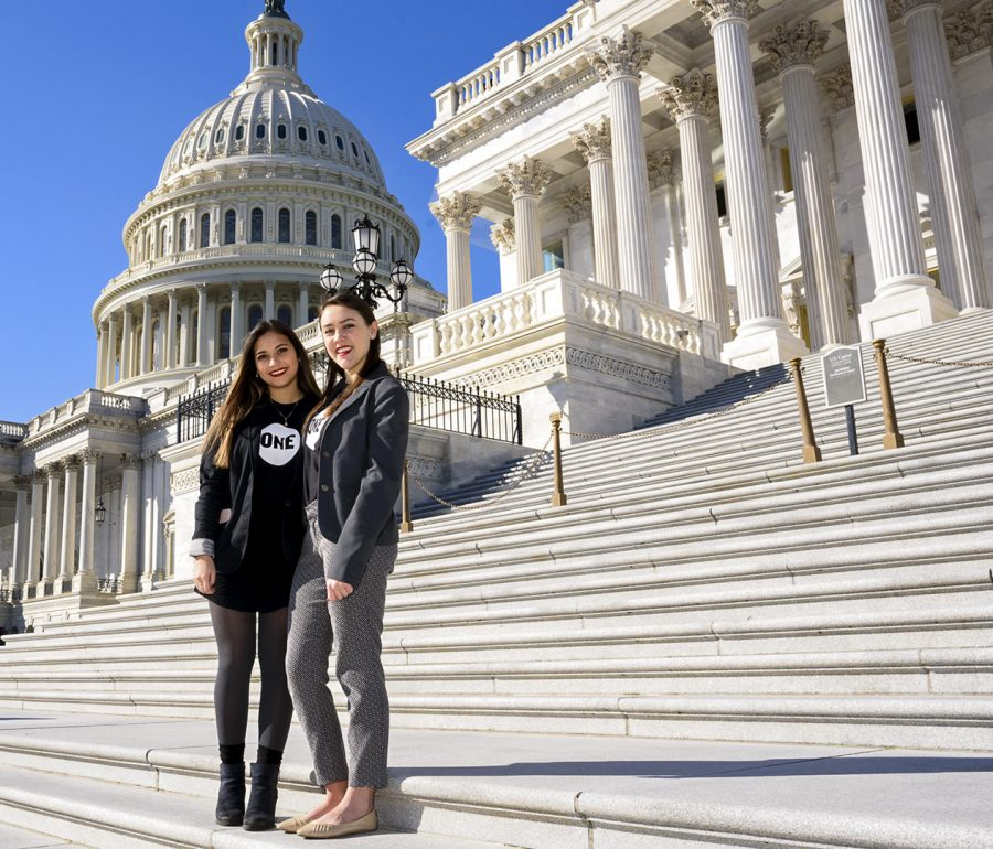 Bowling Green junior Nicole Camargo and La Grange junior Amanda Collins traveled to Washington, D.C. the last week of February to meet with legislators to discuss the international affairs budget. The two students are part of WKU's ONE Campus group.