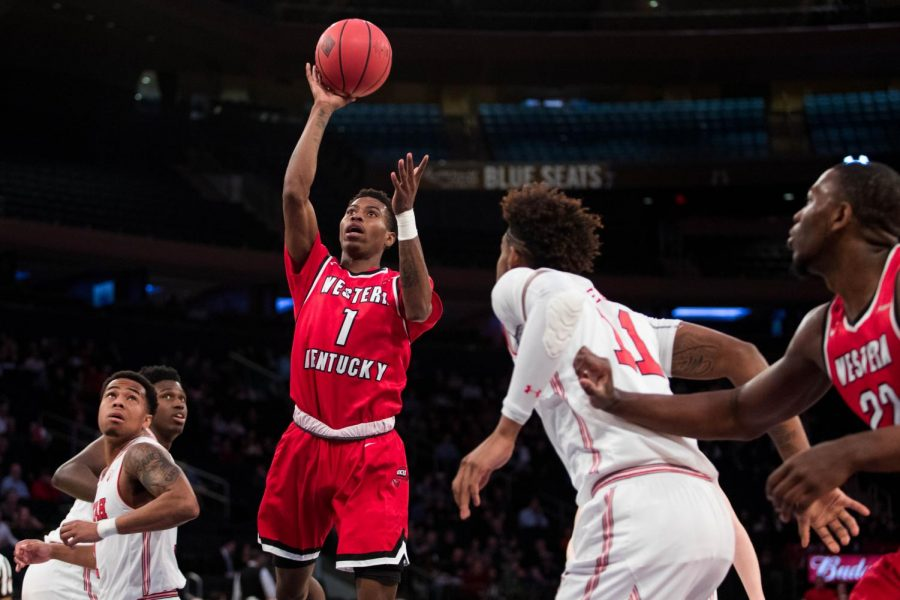 WKU guard Lamonte Bearden takes a shot against Utah during the first half of the NIT semifinals in Madison Square Garden on Tuesday night.