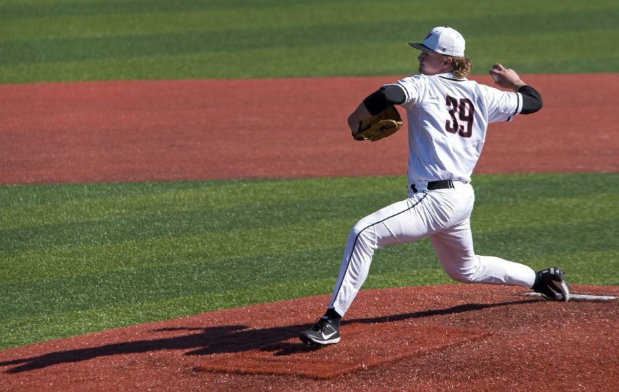 Freshman Maddex Richardson, pitches during the game against West Virginia Sunday, March 4 at Nick Denes Field. The Toppers lost with a final score of 7-1.