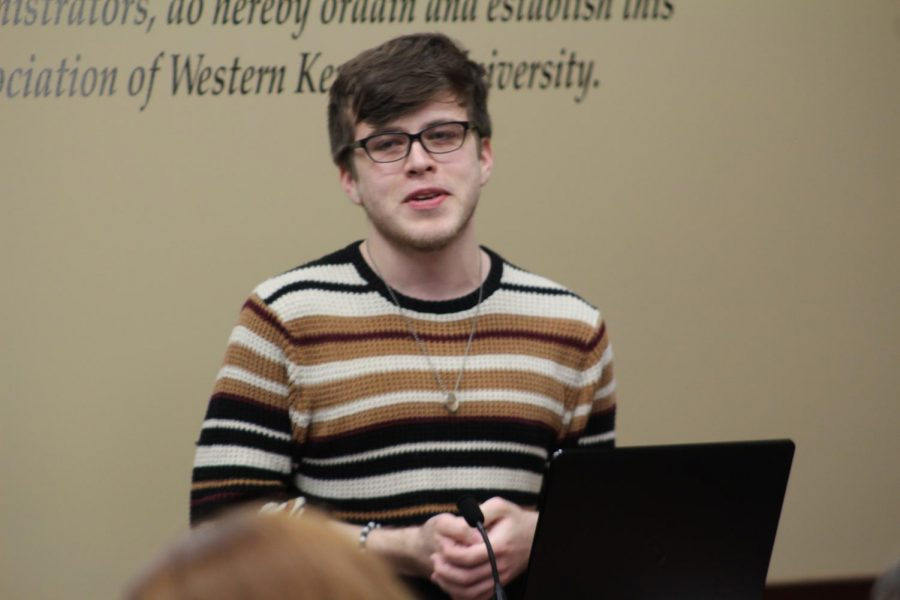 SGA Senator Jayden Thomas speaks to the Senate about his experience growing up aspart of the LGBTQ community