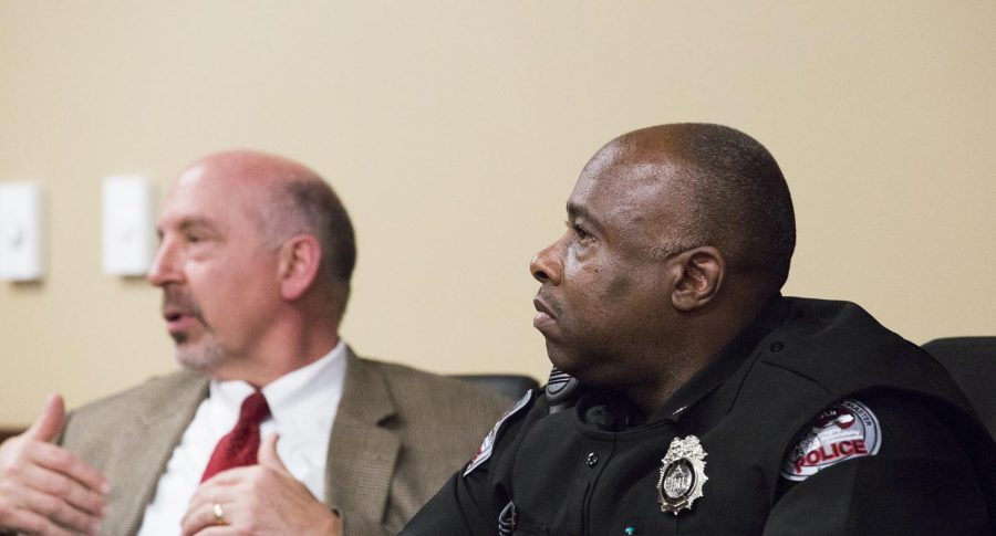 Mitchell Walker, Chief of Police for the WKUPD, listens during the Campus Safety Panel on Feb. 28. The event, hosted by the Student Government Association, was put on to discuss ways to make the WKU campus for students, faculty, and visitors.