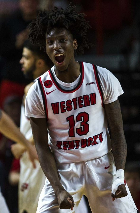 WKU+freshman+Taveion+Hollingsworth+%2813%29+shouts+in+celebration+after+scoring+during+WKU%E2%80%99s+game+vs.+Boston+College+in+the+first+round+of+the+NIT+college+basketball+tournament.+Hollingsworth+scored+18+points+during+the+game.