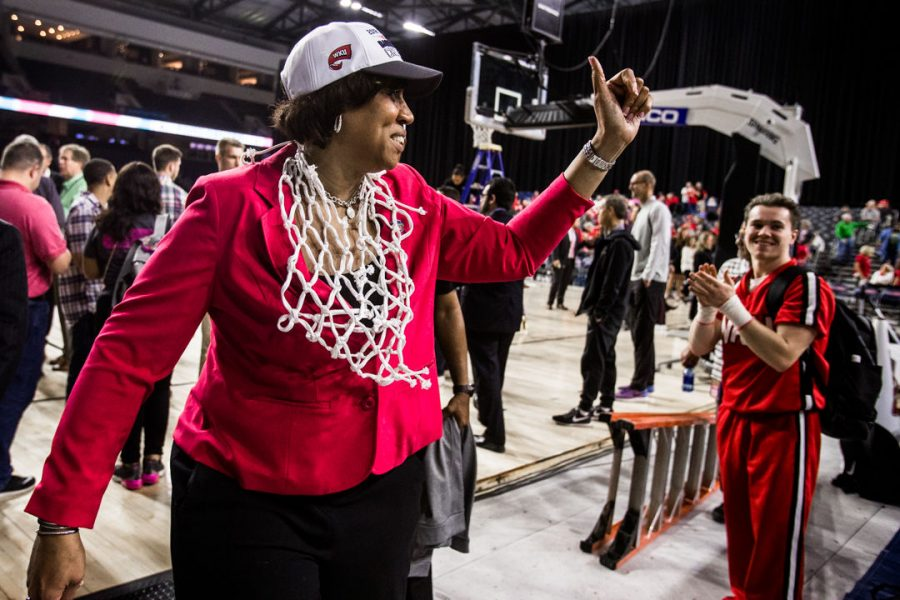 WKU+Head+Coach+Michelle+Clark-Heard+gives+a+thumbs+up+to+the+pep+band+following+the+Lady+Toppers+72-57+win+in+championship+game+of+the+Conference+USA+tournament+against+University+of+Alabama+at+Birmingham+on+Saturday+March+10%2C+2018+at+The+Star+in+Frisco%2C+Tx.