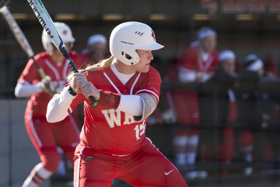 OF+Kelsey+Mcguffin+prepares+to+swing+during+a+game+against+Austin+Peay.+Mcguffin+led+WKU+with+a+.444+hitting+percentage+at+the+C-USA+Tournament.+The+Lady+Toppers+lost+to+the+Austin+Peay+Governors+on+March+2.+at+the+WKU+softball+complex.
