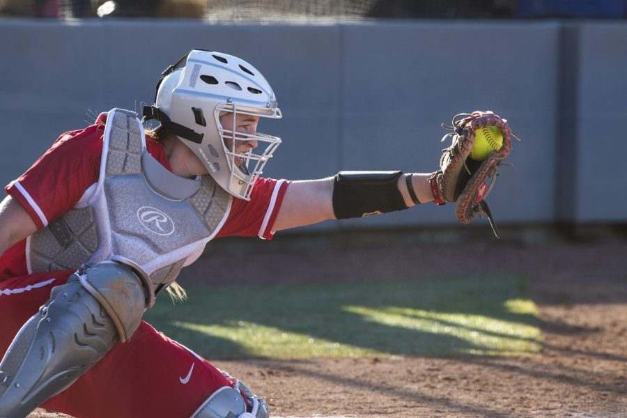 Freshman+catcher+Kendall+Smith+catches+a+pitch+during+the+Mar+2+game+against+Austin+Peay.+Smith+is+a+three-time+All-State+selection.