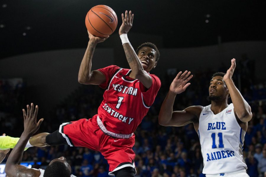 WKU+junior+guard+Lamonte+Bearden+attempts+a+layup+at+Middle+Tennessee+State+University+on+March+1.+WKU+lost+to+the+Blue+Raiders%2C+82-64.%C2%A0