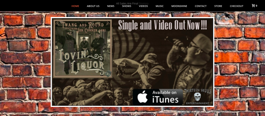 A screenshot of Twang and Round's website, which features a promotional image of their newest single