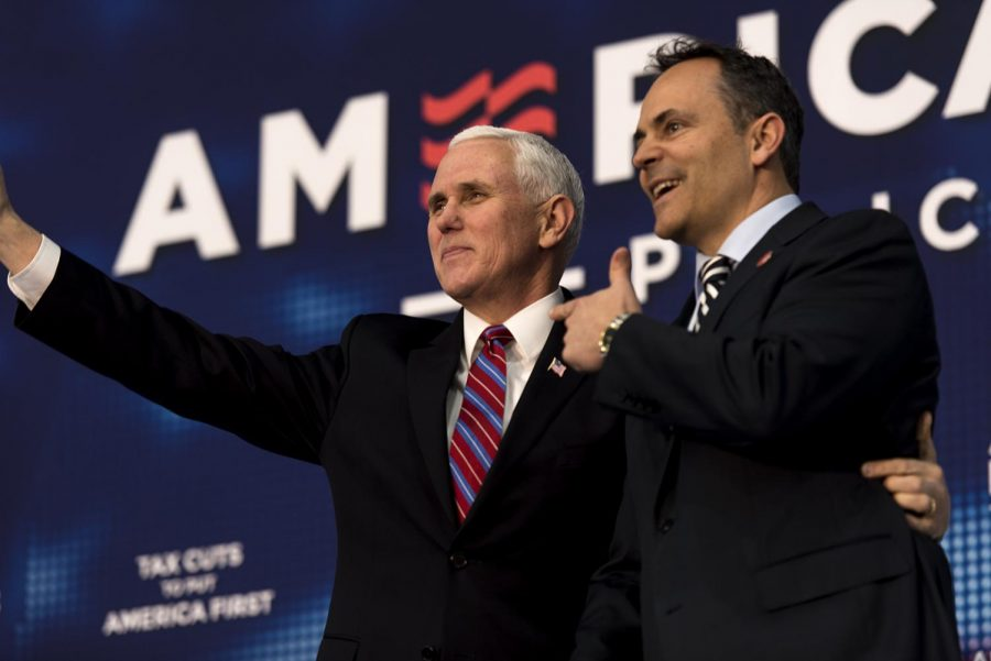 Gov. Matt Bevin introduces Vice President Mike Pence to the crowd of fans. Pence spoke about the Donald Trump administrations many tax and regulation cuts that he has implemented since being in office. Pence refers to Bevin as a great friend of his.