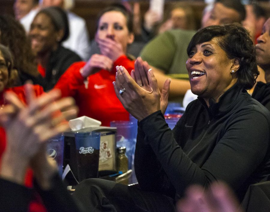 WKU women's basketball head coach Michelle Clark-Heard reacts to the reveal of their initial opponent for the NCCA tournament at Mister B's restaurant on Monday, Mar. 12.